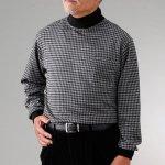 画像2: mij(エムアイジェイ)日本製暖か千鳥格子ハイネックシャツ2色組 (2)
