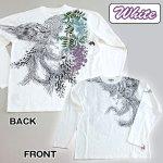 画像4: 絡繰魂ロングTシャツ「藤棚に鳳凰」(メンズ,長袖Tシャツ,ロングスリーブ,和柄ロンT,からくりだましい,刺繍,抜き染プリント,コットン,綿100%) (4)