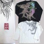 画像6: 絡繰魂ロングTシャツ「藤棚に鳳凰」(メンズ,長袖Tシャツ,ロングスリーブ,和柄ロンT,からくりだましい,刺繍,抜き染プリント,コットン,綿100%) (6)