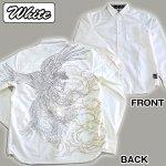画像2: 絡繰魂「鳳凰刺繍ブロック柄コットンシャツ」(メンズ,長袖,ロングシャツ,和柄,抜き染プリント,綿,刺繍&プリント,からくりだましい) (2)