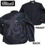 画像4: 絡繰魂「鳳凰刺繍ブロック柄コットンシャツ」(メンズ,長袖,ロングシャツ,和柄,抜き染プリント,綿,刺繍&プリント,からくりだましい) (4)