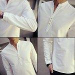 画像5: マオカラー・ロングスリーブスタイルシャツ(メンズ,秋冬長袖シャツ,プレーンシャツ,マオカラー) (5)