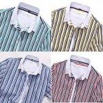 画像3: ストライプカラー・カジュアルシャツ(メンズ/半袖/スリム/綿/コットン/ポリエステル/夏シャツ/カジュアル/ウェア) (3)