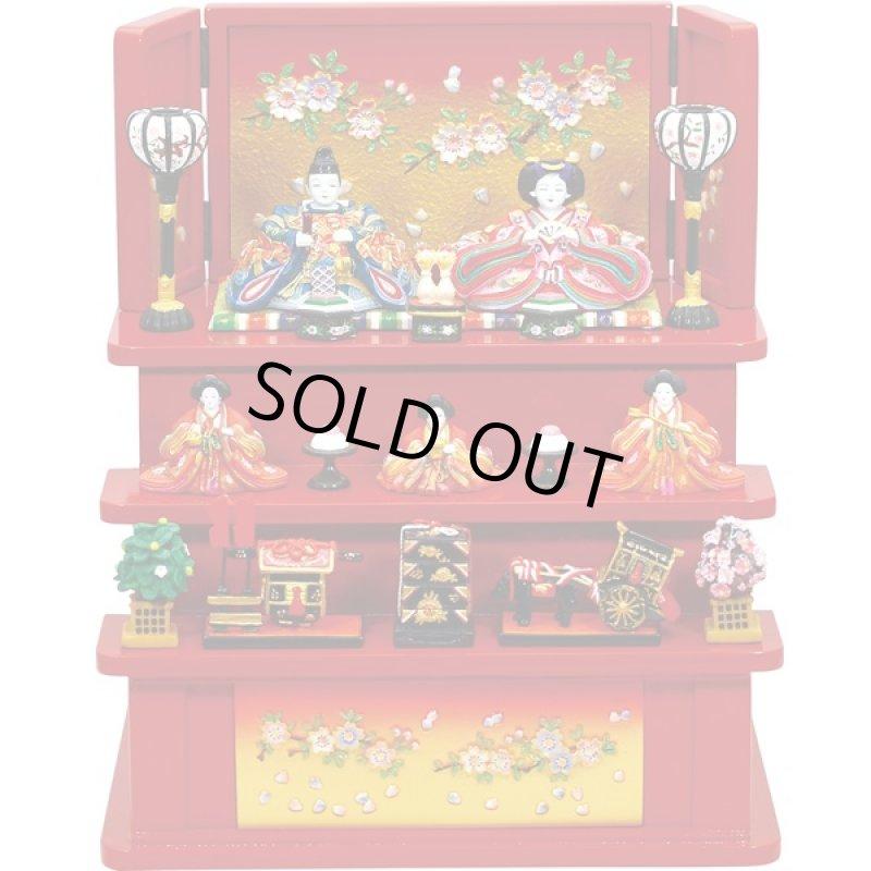 画像1: 雛人形・内裏雛大和中木製三段飾り桜(赤)(送料無料,卓上ミニひな人形,陶器製,コンパクト,初節句,女の子,ギフト,プレゼント,雛祭り) (1)