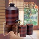 画像2: 陶器製熟成焼酎サーバー「800ml」 (陶器カップ2個付き,木製サーバー台付き,泡盛,ブランデー,蒸留酒,遠赤外線) (2)