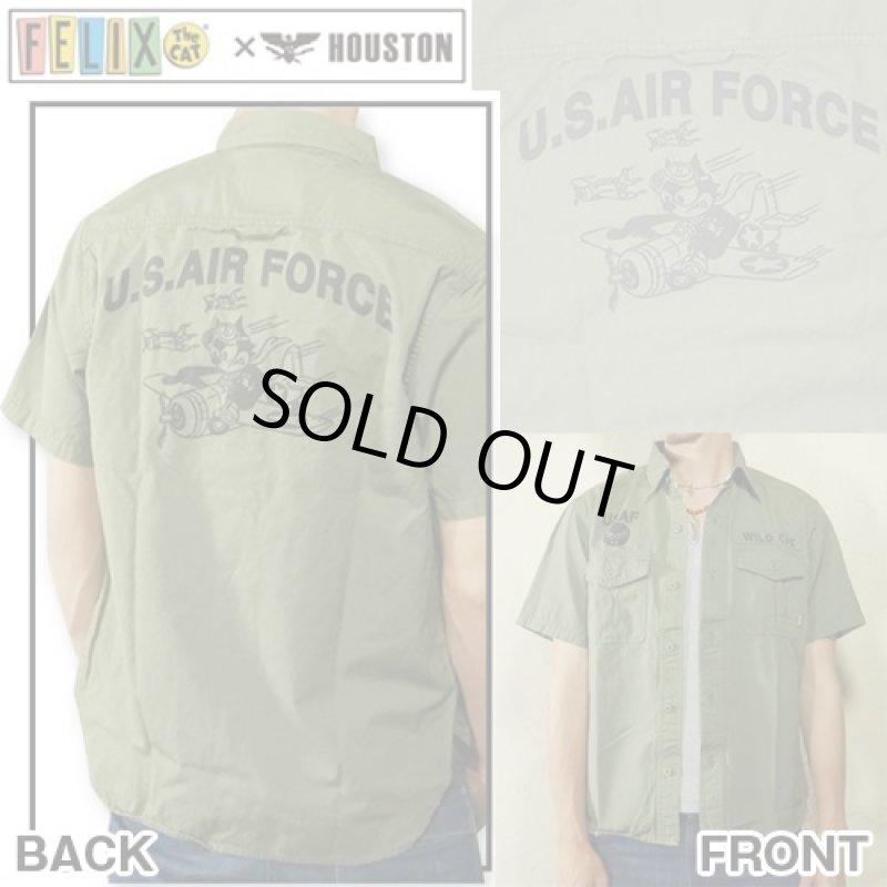 画像1: FELIX×HOUSTONミリタリー半袖シャツ(メンズ/コットン/ヒューストン/フィリックス/U.S.AIR FORCE/ワイルドキャット/WILD CAT/アメカジ/戦闘機) (1)