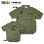 画像2: FELIX×HOUSTONミリタリー半袖シャツ(メンズ/コットン/ヒューストン/フィリックス/U.S.AIR FORCE/ワイルドキャット/WILD CAT/アメカジ/戦闘機) (2)