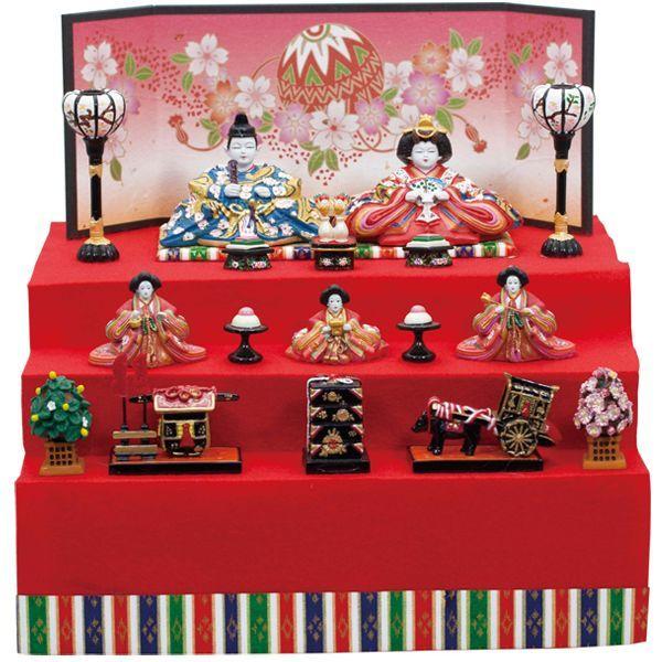 画像1: 送料無料!雛人形・内裏雛新花園新三段飾り小 (1)