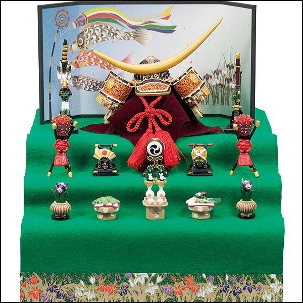 画像1: 送料無料!五月人形伊達公兜大赤新三段飾り和紙屏風・鯉のぼり (1)