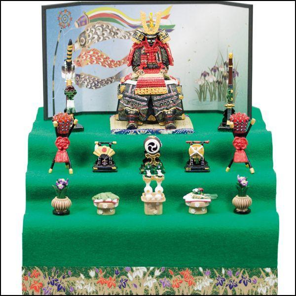 画像1: 送料無料!五月人形鎧大赤新三段飾り (1)