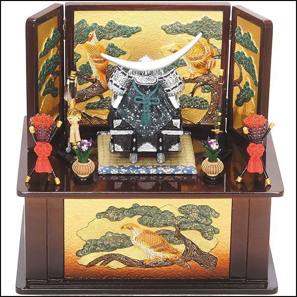 画像1: 送料無料!五月人形伊達公櫃付兜中銀収納飾り(茶) (1)