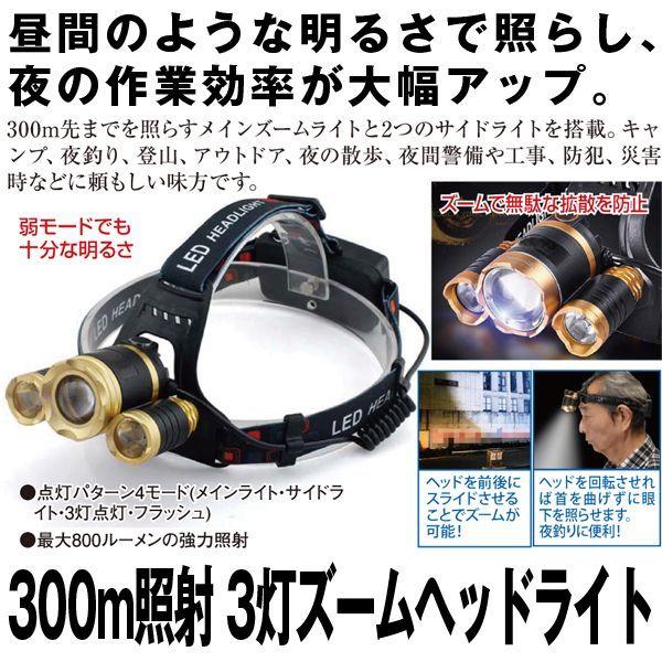 画像1: 300m照射3灯ズームヘッドライト (1)