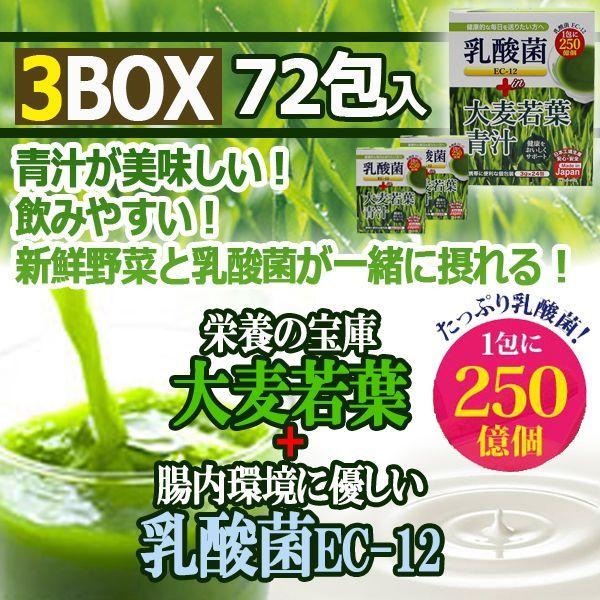 画像1: たっぷり乳酸菌EC-12!大麦若葉青汁3BOX(72包入り) (1)