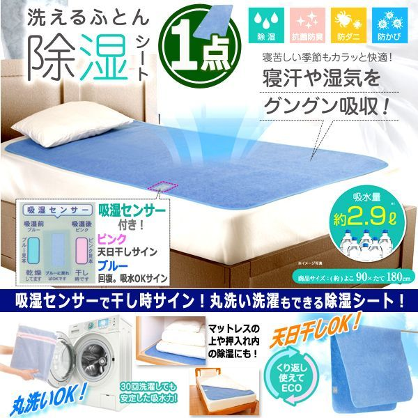 画像1: 寝汗や湿気を吸収約2.9L!洗えるふとん除湿シート[1点] (1)