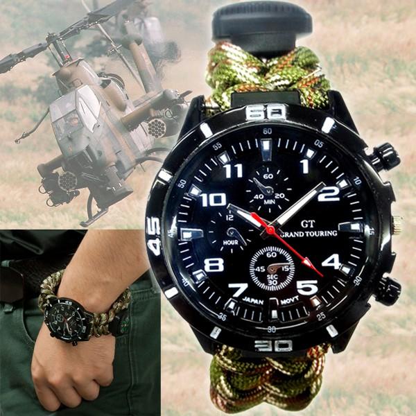 check out 07c9a f03c5 パラコード・サバイバルウオッチブラックイーグル(ミリタリーウォッチ,サバゲーウォッチ,腕時計,サバイバルギミック搭載腕時計)