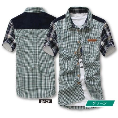画像1: イレギュラーチェックジャケシャツ(ウェア/半袖/綿/コットン/ポリエステル/スリム/3パーツクロス/トリッキー/ワークパターン/切り替え) (1)