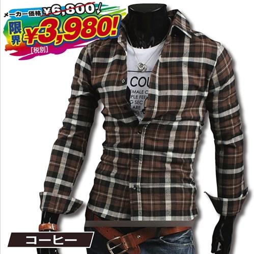 画像1: T.O.Tチェック長袖シャツ(メンズ/コットン/ポリエステル/ネルシャツ/起毛/7色) (1)