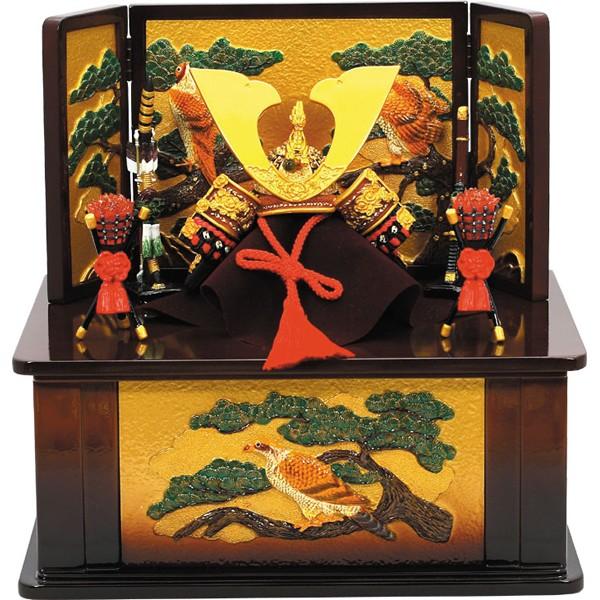 画像1: 送料無料五月人形出世兜大赤収納飾り茶 (卓上五月人形,ミニ五月人形,端午の節句,卓上サイズ,初節句,5月5日) (1)